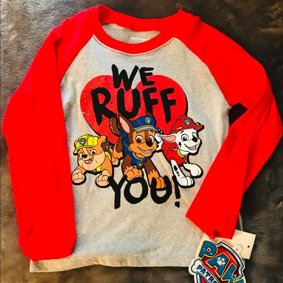PAW PATROL Raglan LS T-Shirt We Ruff You NEW 2T NWT